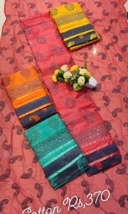 The Beautiful Color Cotton Unstitched Suit with Cotton Dupatta (4-set)