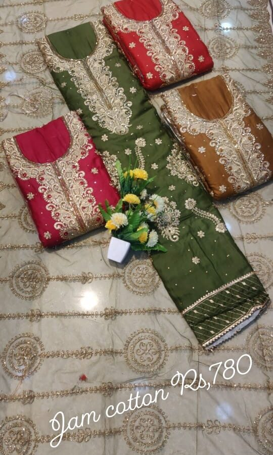 Jam Cotton Unstitched Suit with Davil Silk Dupatta (4-set)