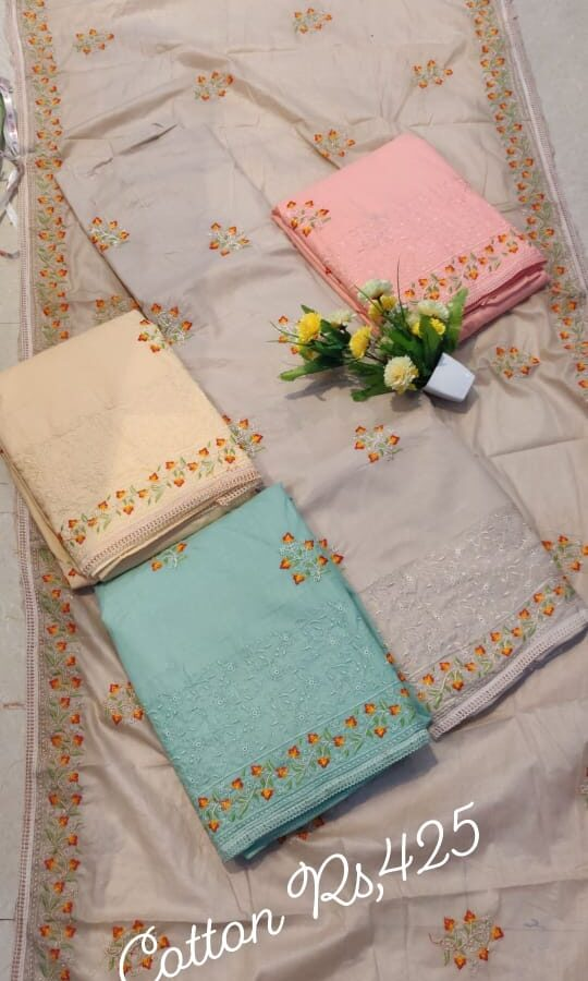 Stylish Cotton Silk Unstitched Suit with chiffon Silk Dupatta (4-set)