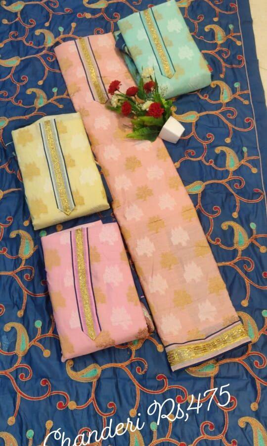 Designer Chanderi Silk Unstitched Suit with Dupatta (4-set)