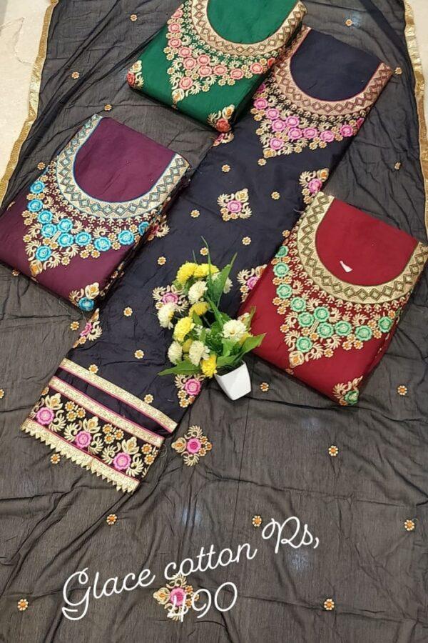 Designer Glace Cotton Suit 4 set -Arihant Fashion Online