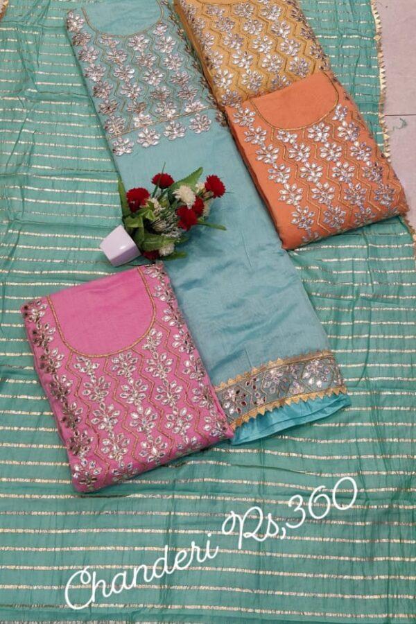 Desinger chanderi Silk unstitched Suit 4 set -Arihant Fashion Online