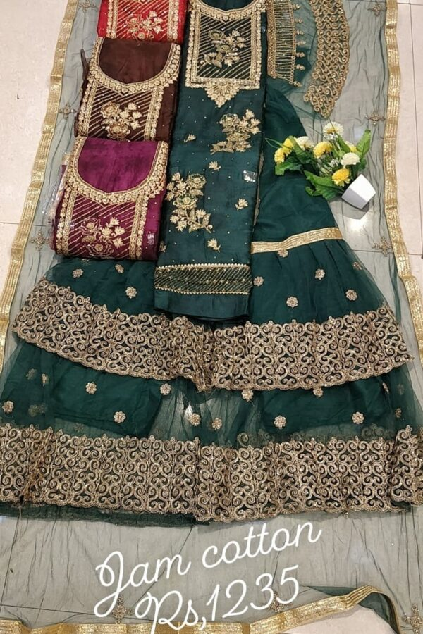 Designer Jaam Cotton Suit With Sharara and Net Duppata