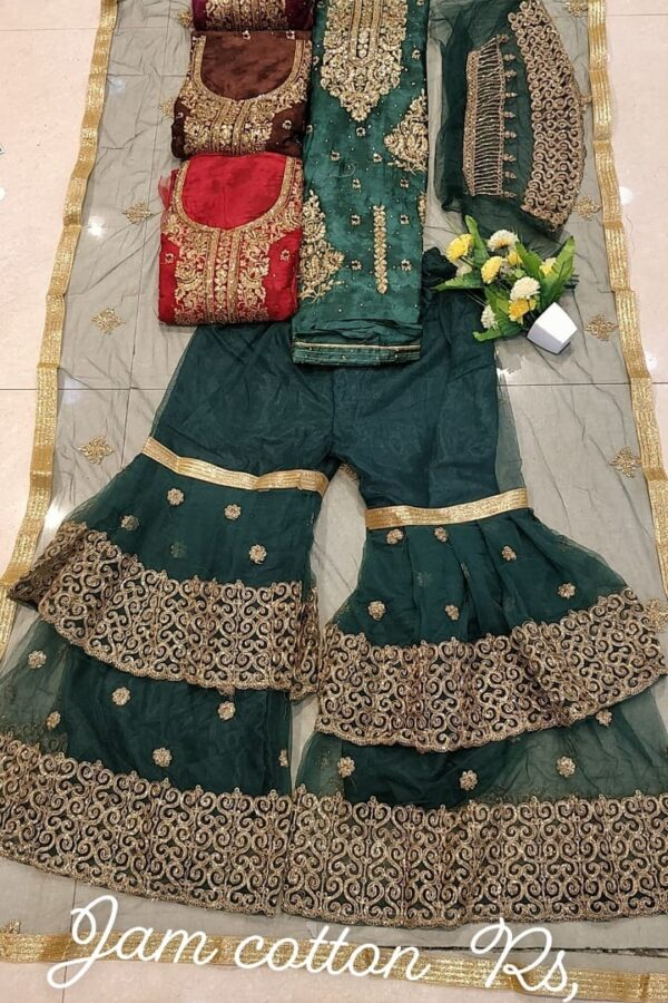 Designer Jaam Cotton Suit With Sharara and Net Dupatta