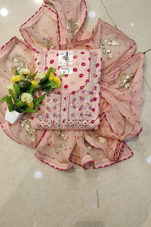 Peach Color Cotton Suit With Chiffon Duppata for Women