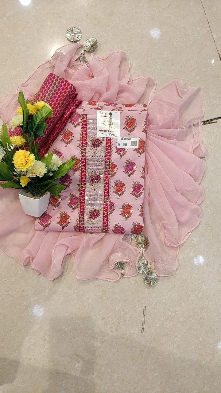 Pink Color Un-Stitched Silk Suit With Dupatta