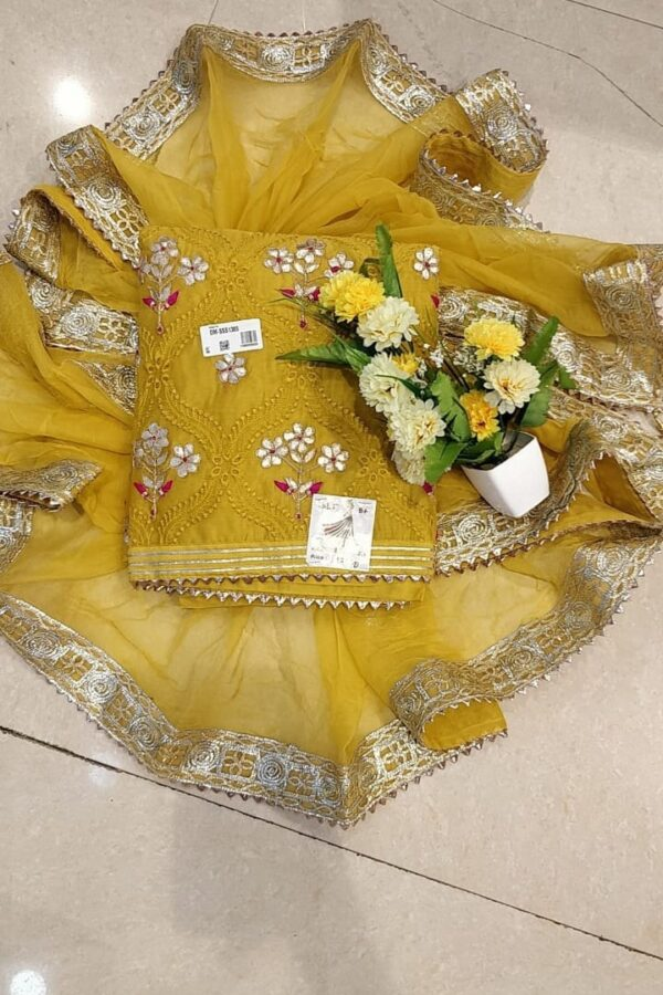 Yellow Color Un-stitched Chanderi Suit with Chiffon Dupatta