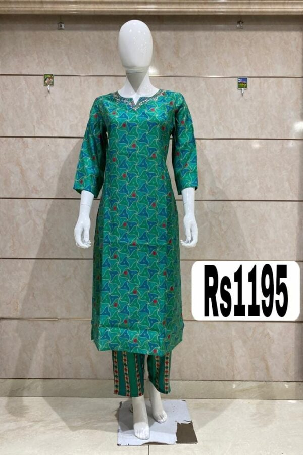 Latest Designer Bottle Color Cotton Silk Kurti with Divider