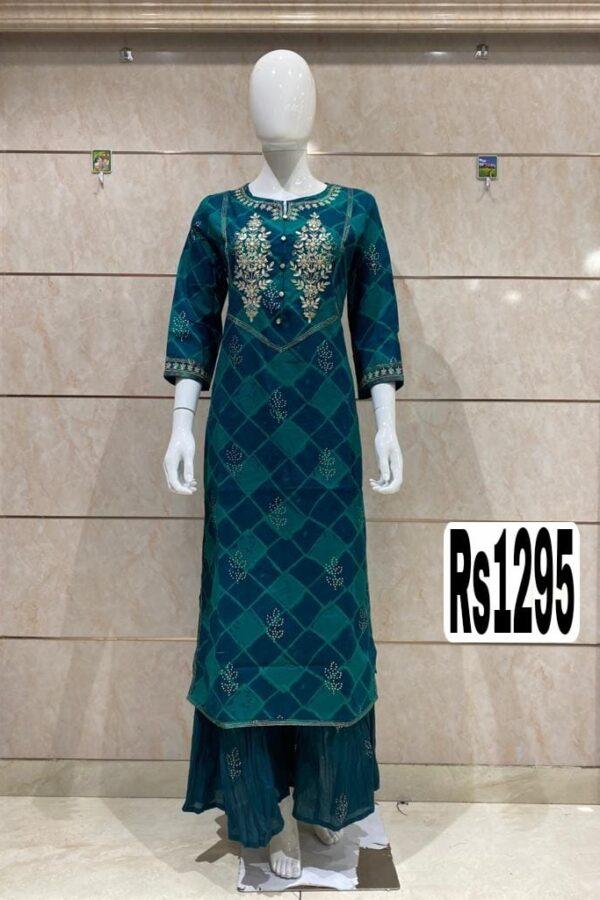 Sea-Green Color Cotton Silk kurti Golden thread Work with Palazzo, Mask