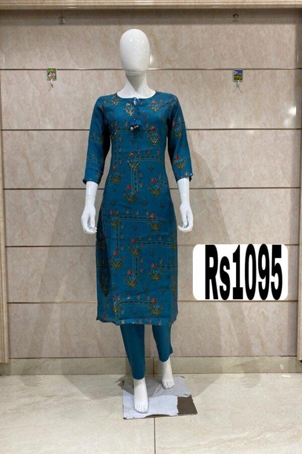 Blue Color Cotton Silk Kurti set With Pant Mask - Arihant Online