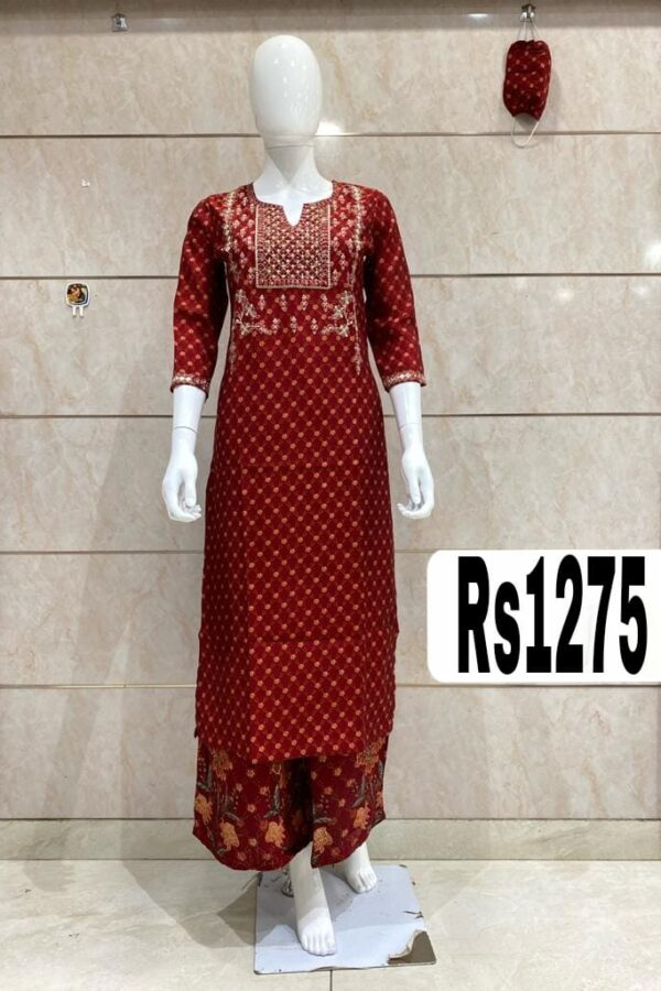 Occasions wear Red Kurti in Cotton Silk with Plazo and Mask -Arihant Online