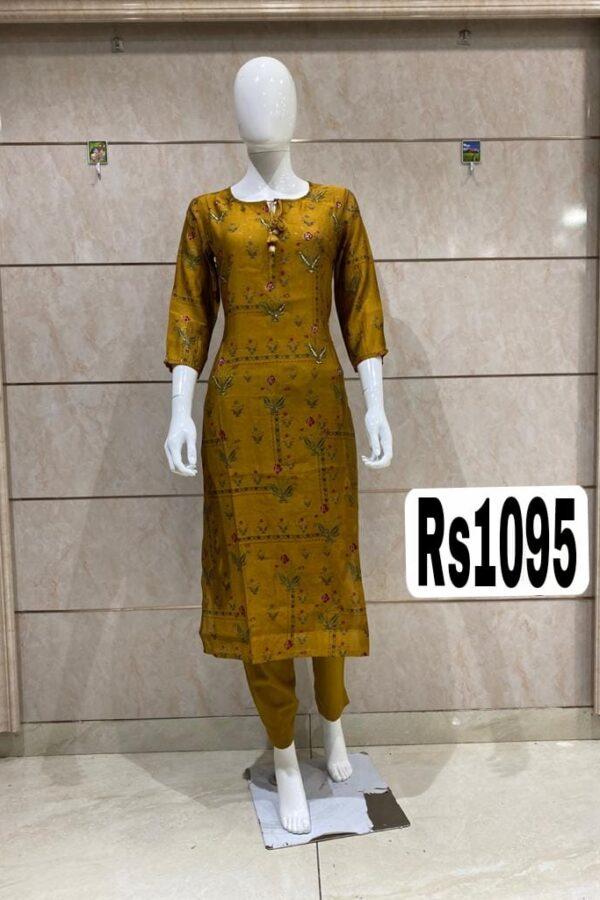 Latest Designer Yellow Color Cotton Silk Kurti with Pant
