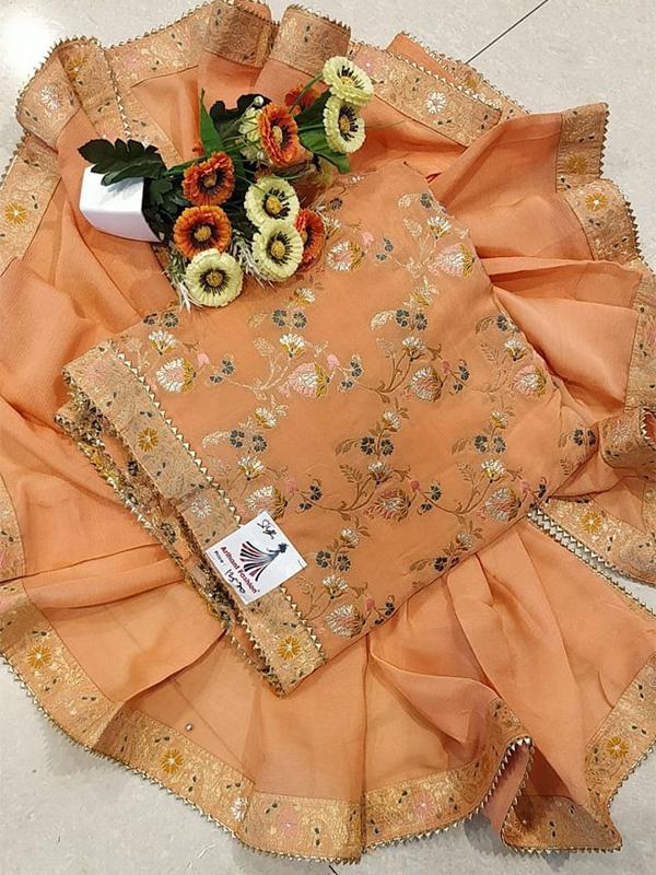 Designer Orange Color Chiffon Suit - Online Arihant Fashion