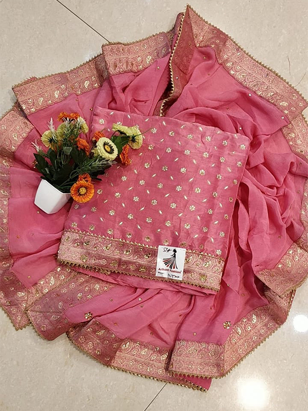 Dark Pink Color Opada Silk Suit With Chiffon Dupatta
