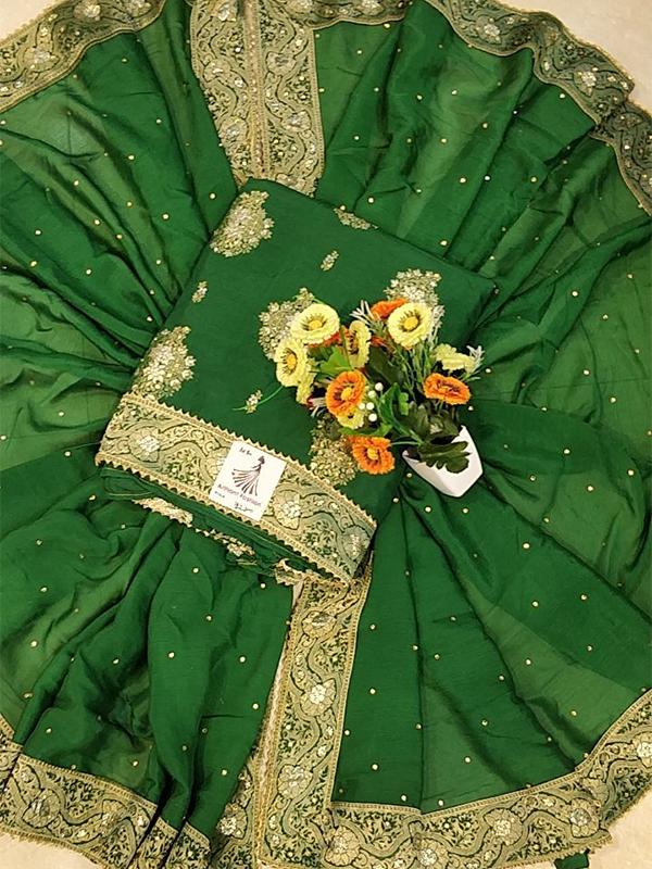 Designer Green Color Banarasi Suit with Jacquert Dupatta