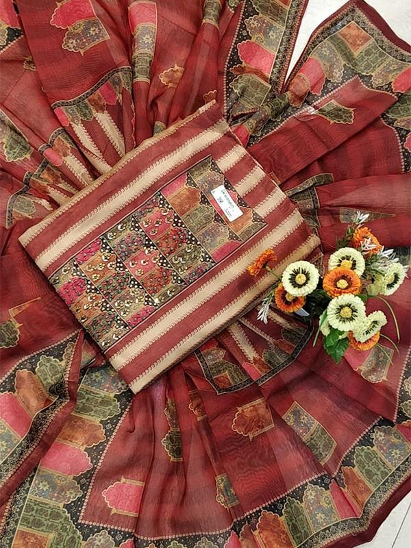 Designer Chanderi Silk Suit With heavy Dupatta