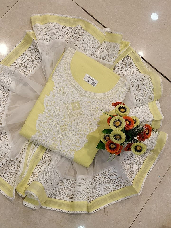 Designer yellow color Cotton Suit set - Arihant Fashion