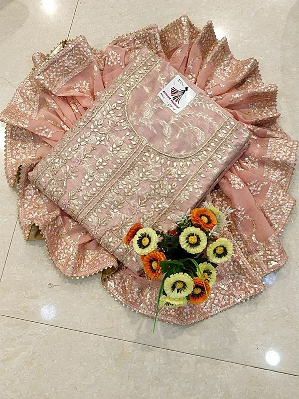 Designer Pink Color Chanderi Silk Suit