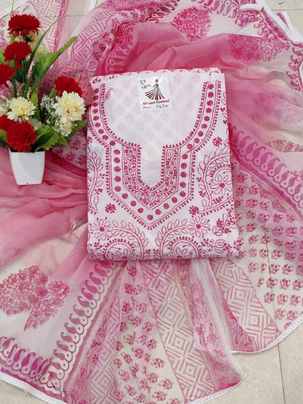 Designer Baby Pink Color Cotton Suit With Chiffon Dupatta