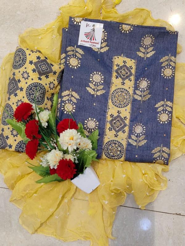 Designer Blue Color Reyon Silk Suit with Chiffon Dupatta