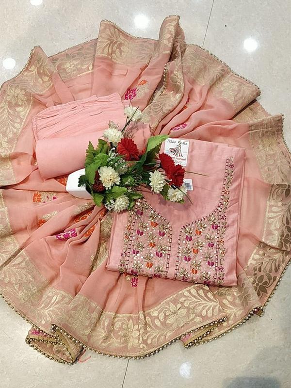 Designer Pink Color Modal Chanderi Suit WIth Chiffon Dupatta