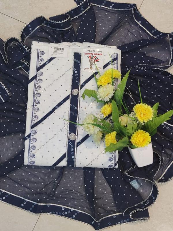 Designer White Color Cotton Suit with Chiffon Dupatta