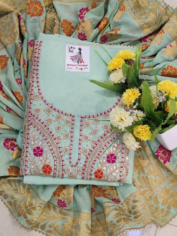 Designer Baby Blue Color Modal Chanderi Suit