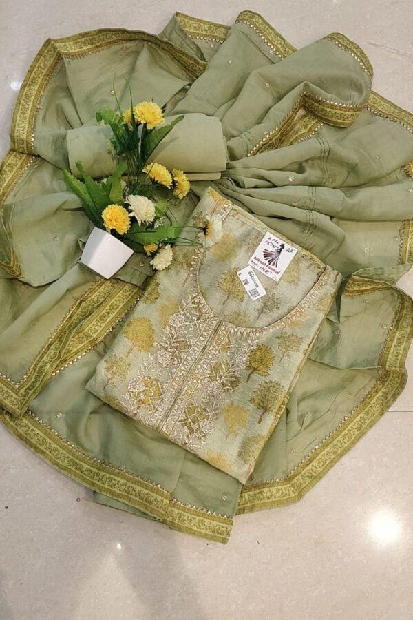 Derigner Green Color Maslin Suit With Chiffon Dupatta