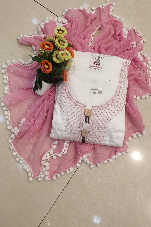 Baby Pink color cotton suit with senton salwar and Chiffon Dupptta for woman