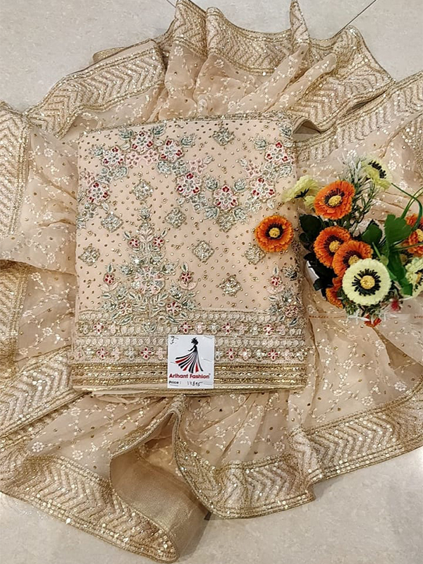 chinon with handwork with four side heavy border dupatta