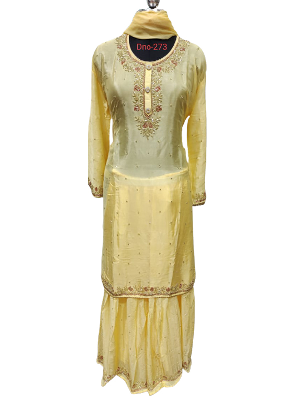 Designer yellow Color Chinon Suit With Pure Chiffon