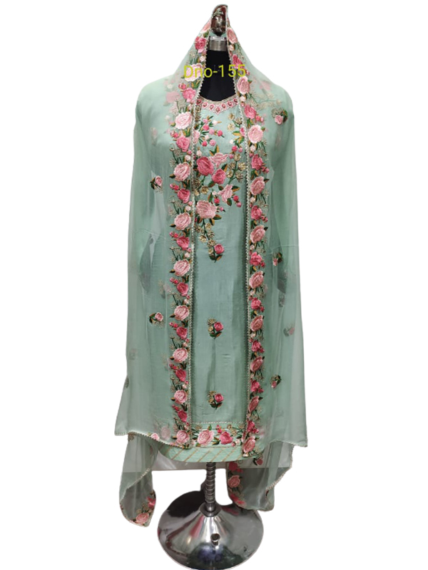 Designer Light Green Color Crape Suit With Pure Chiffon