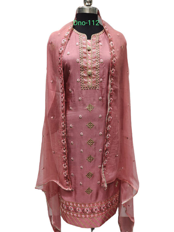 Designer Pink Color Crape Suit With Pure Chiffon