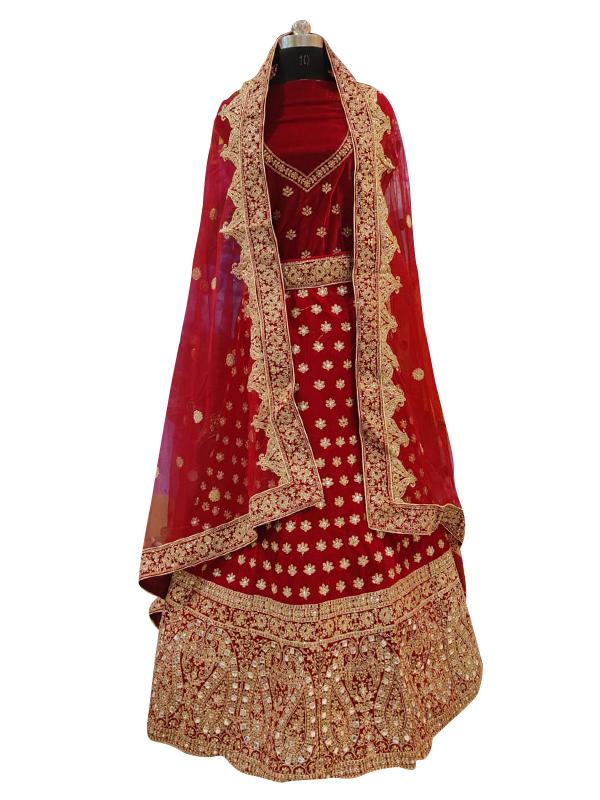 Designer Red Velvet Lehenga Choli with Hand Work