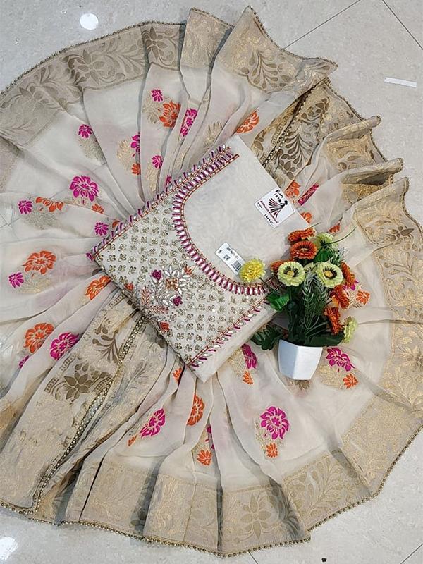 Designer Blue Color Model Chanderi Suit - Online Arihant Fashion