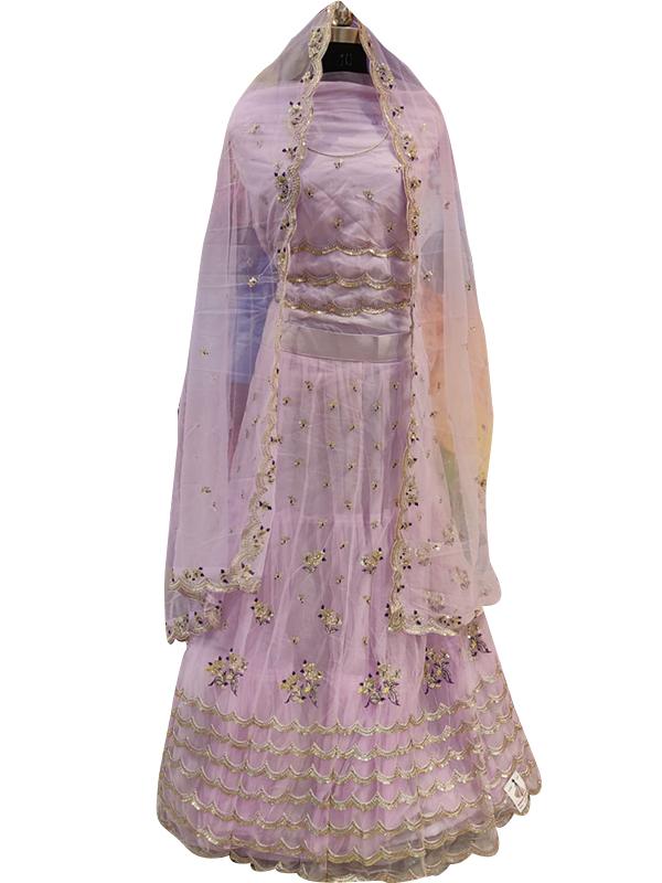 Light Pupal Color Net Non-Bridal Lehenga Choli with Dupatta