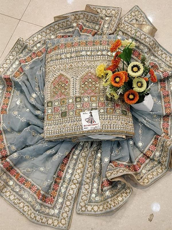 Designer Grey Color Georgette Suit - Online Arihant Fashion