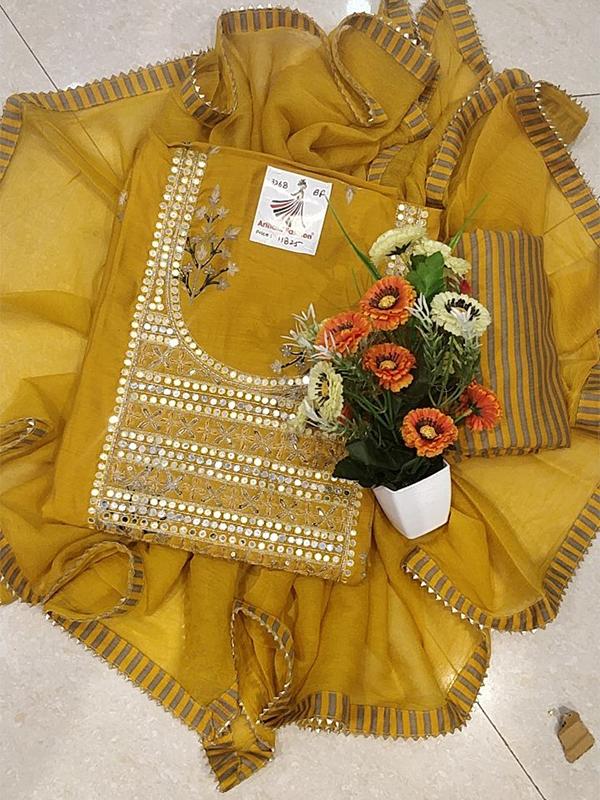 Designer yellow Color SIlk suit with Maslin Silk Bottom
