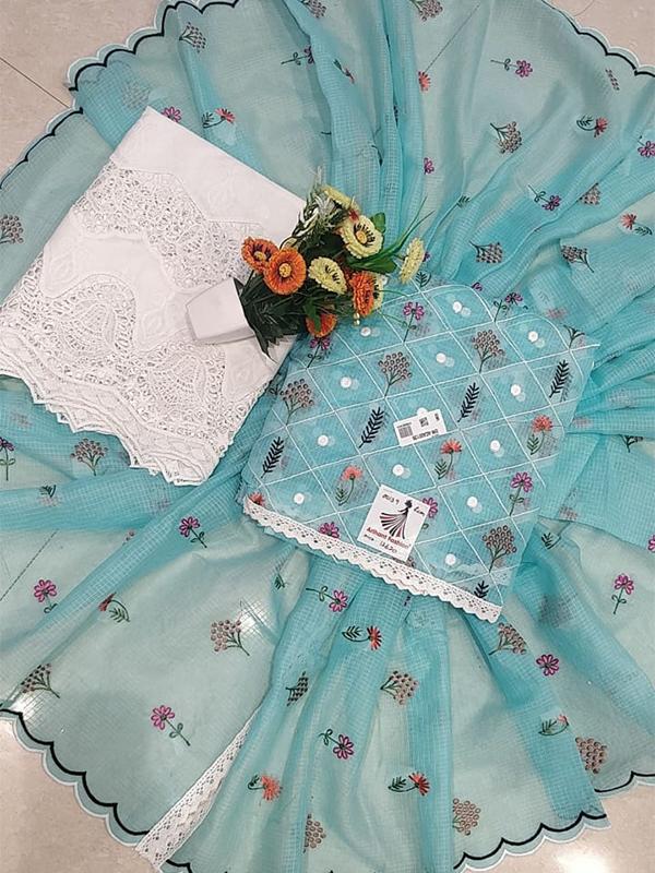 Designer Light Blue Color Dooriya Suit With Dupatta