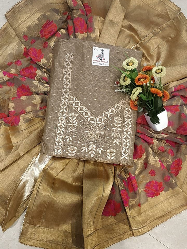 Designer Grey Color Chanderi Suit Banarasi Dupatta