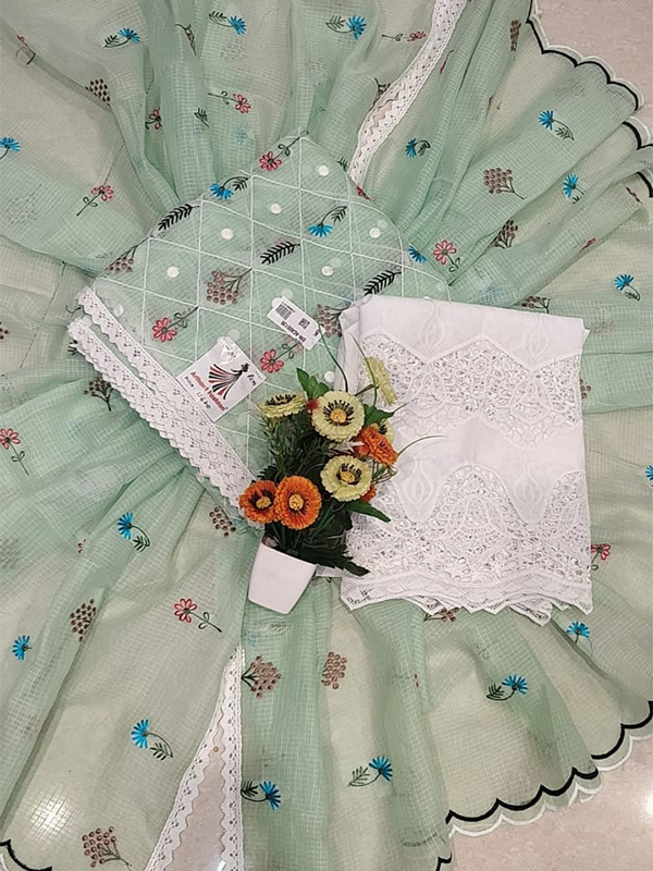 Designer light Green Color dooriya Suit with dupatta