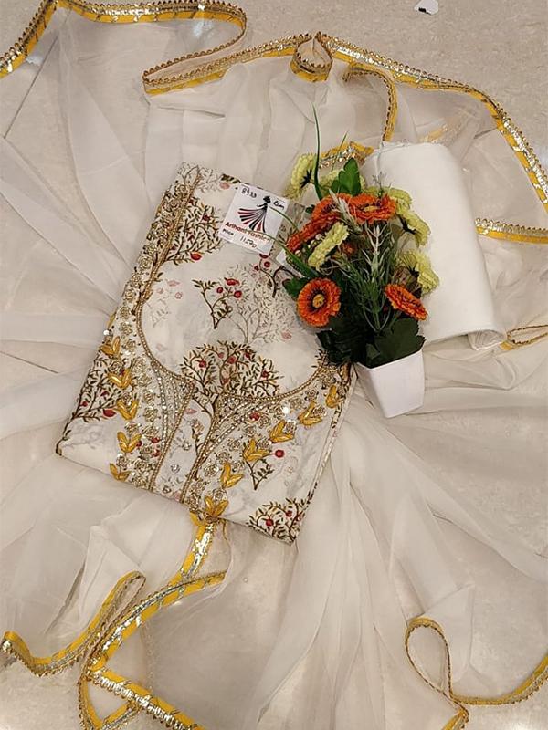 Designer White Color Cotton with Chiffon Dupatta
