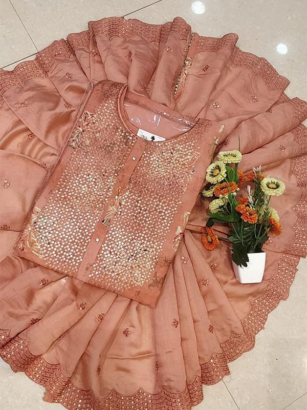 Designer Pink Color Chanderi Silk Suit With Chanderi Dupatta