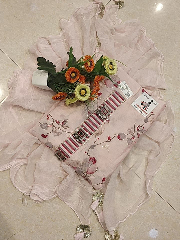 Desinger Pink Color Silk suit with Maslin Dupatta