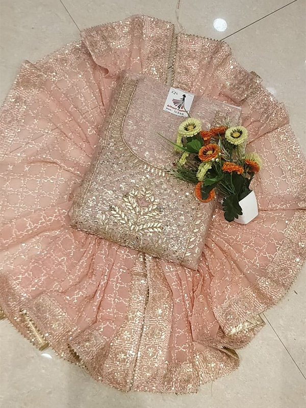 Designer Pink Color Chanderi Silk Suit With Chanderi Dupatta