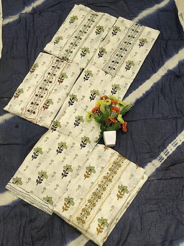 Cambric Cotton suit with Chiffon Dupatta