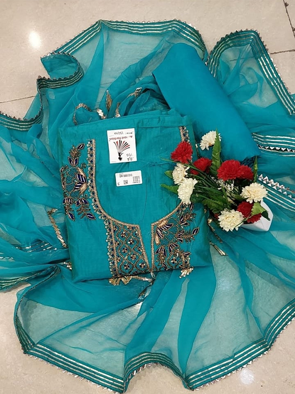 Blue Color Modal chanderi Silk Suit