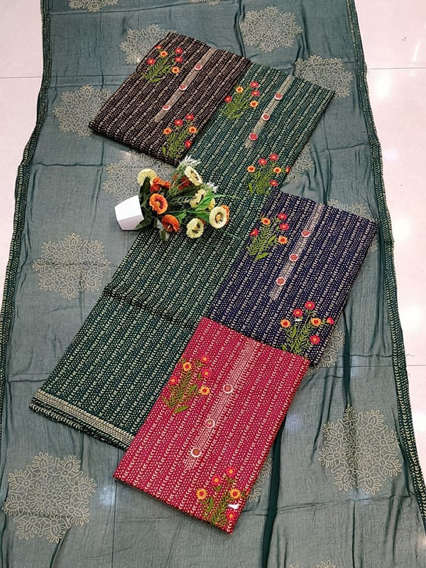 Grey Shade Cambric Suit 4 set With Cotton Dupatta