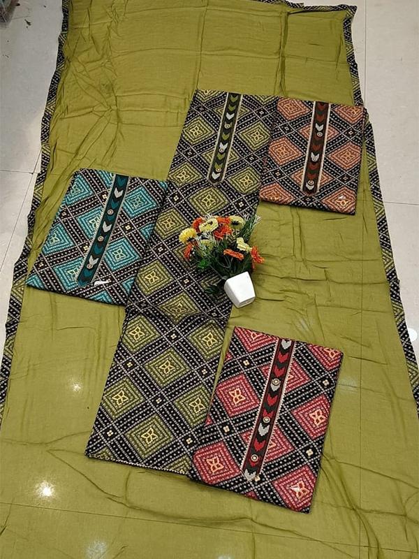 Blue Print Cotton Suit set With Cotton Dupatta - Online Arihant Fashion