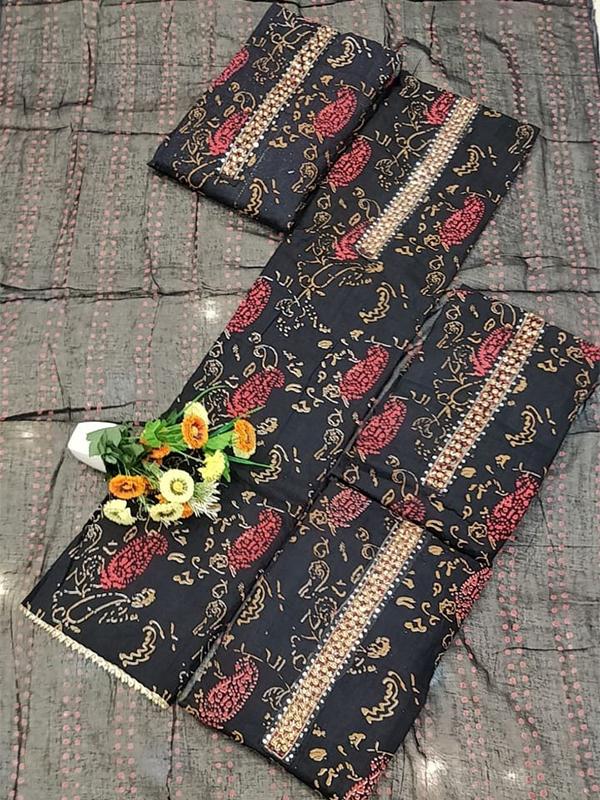 Black Cotton Suit set With Cotton Dupatta - Online Arihant Fashion